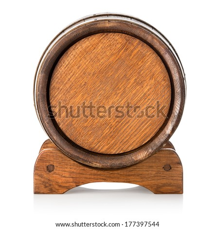 Front view of a wooden barrel on stand - stock photo