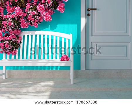 Front view of a wooden white door on a blue house. Beautiful roses and bench on the porch. Entrance of a house. - stock photo