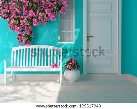 Front view of a wooden white door on a blue house with window. Beautiful roses and bench on the porch. Entrance of a house.