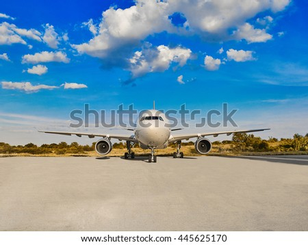 Front view of Airplane - stock photo