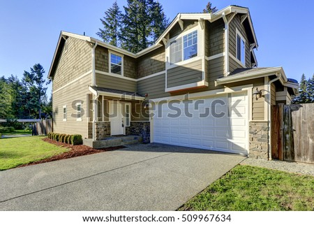 Front view of American family house on a sunny day. Northwest, USA