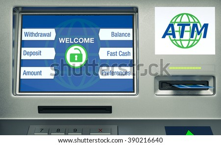 front view of an atm, white background (3d render)