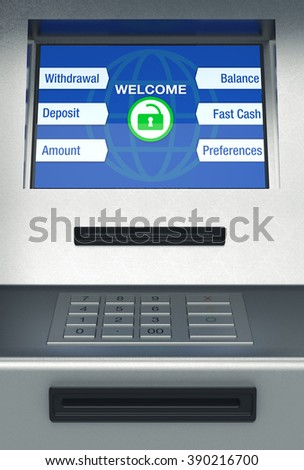 front view of an atm, white background (3d render) - stock photo