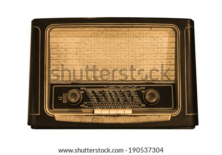 Front view of an old radio isolated on white background