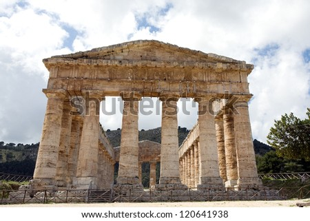 front view of ancient Greek Venus temple in Segesta village, Sicily, Italy - stock photo