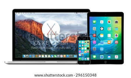 Front view of Apple MacBook Pro Retina with OS X El Capitan on the display, iPhone 5s and iPad Air 2 with iOS 9 on the displays. Isolated on white background. Varna, Bulgaria - February 02, 2015. - stock photo