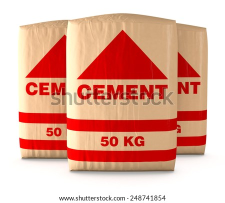 front view of bags of cement on white background (3d render)