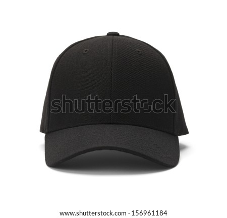 Front View of Black Cap Isolated on White Background. - stock photo