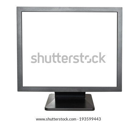 front view of black display with cut out screen isolated on white background