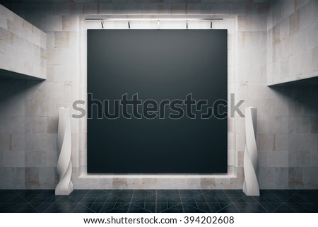 Front view of blank blackboard in empty concrete interior. Mock up, 3D Render - stock photo