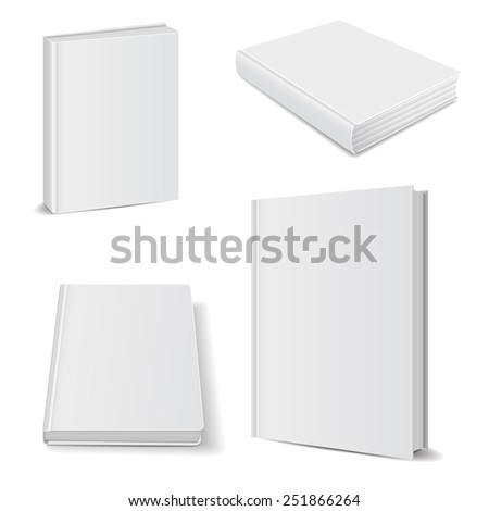 front view of Blank book cover white - stock photo