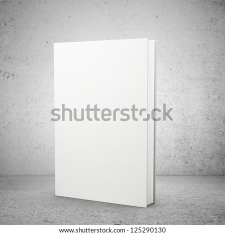 front view of blank book  on concrete background - stock photo