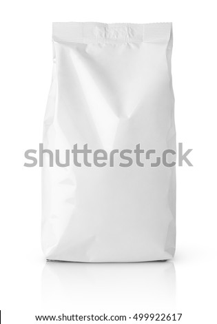 Front view of blank snack paper bag package isolated on white with clipping path