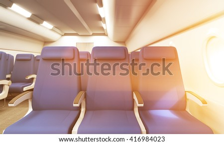 Front View Of Blue Seats In Bright Airplane Interior Toned Image 3D Rendering