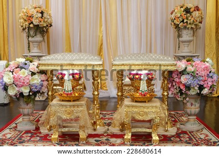 Front view of bouquet decoration for hand pouring in thai wedding ceremony  - stock photo