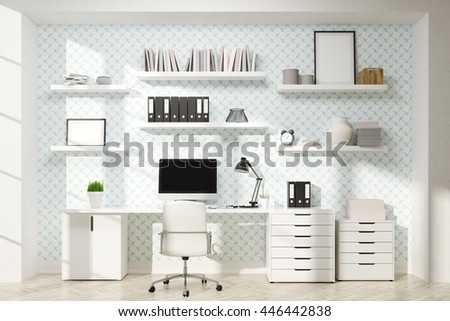 Front view of bright office workplace with bookshelves, blank computer monitor and empty picture frames. Mock up, 3D Rendering - stock photo