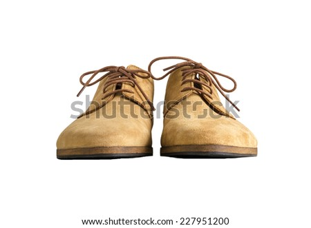 Front view of Brown Man Suede Leather Shoes isolated on white background - stock photo