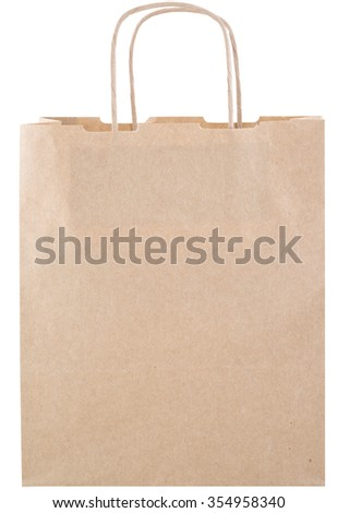 front view of Brown paper bag on white background. isolated on white background by clipping mask. - stock photo