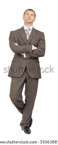 Front view of businessman on isolated white background - stock photo