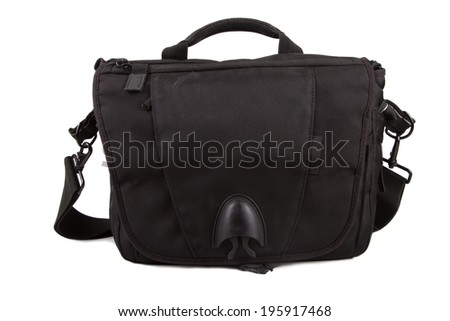 Front view of camera bag, isolated on white background.