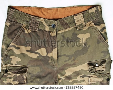 front view of camouflage pants - stock photo