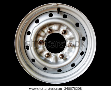 Front view of car wheel isolated - stock photo