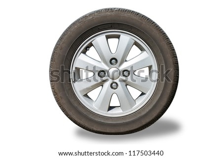 Front view of car wheel isolated on white - stock photo