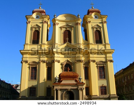 Front view of Catholic Dome in the city of Timisoara - Romania - stock photo