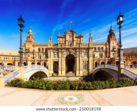 Front  view of  central building  at  Plaza de Espana. Seville, Spain  - stock photo
