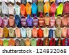 Front view of colourful Moroccan slippers, Marrakesh - stock photo