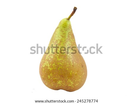 Front view of conference pear  isolated on white - stock photo