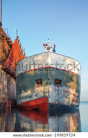 Front view of docked Cargo Ship