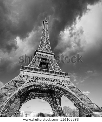 Front view of Eiffel Tower from Champ de Mars, Paris - stock photo