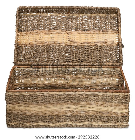 Front view of empty open wicker basket isolated on white background. With shadow. - stock photo
