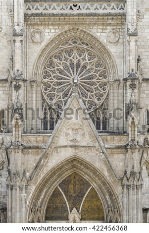 Front view of facade of San Juan basilica, a neo gothic style catholic church located in the historic center of Quito, Ecuador. - stock photo