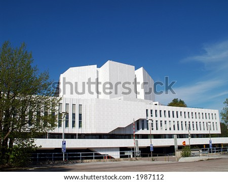Front view of Famous Finlandia Hall - stock photo