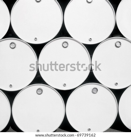 Front view of fuel blank drums. - stock photo