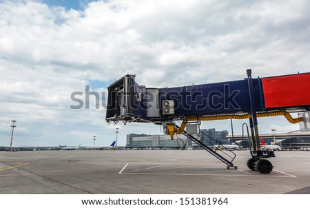 Front view of gangways for the plane - stock photo