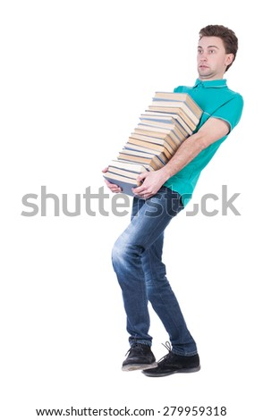 front view of going  handsome man carries a stack of books.  Rear view people collection.  backside view of person.  Isolated over white background. Thin student carries a heavy stack of books. - stock photo