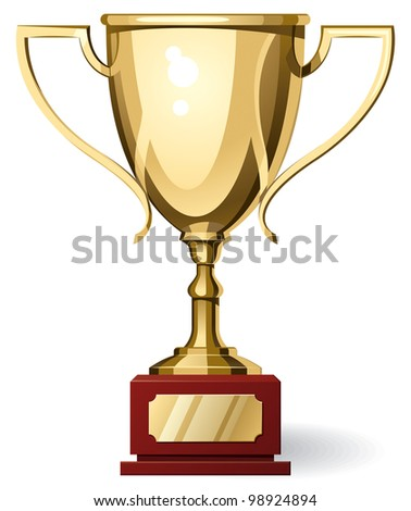 Front View of Gold Sport Cup on White Background. Rasterized Version - stock photo
