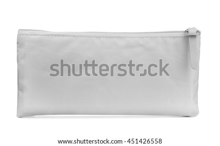 Front view of grey pencil case isolated on white - stock photo