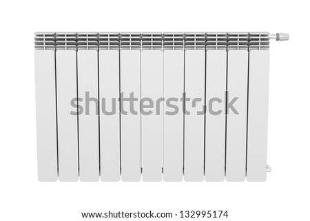 Front view of heating radiator - stock photo