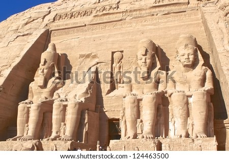 Front view of King Ramses II in Abu Simbel Temple, Egypt - stock photo