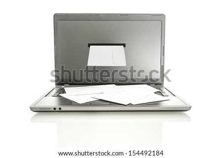 Front view of laptop with envelope coming out of monitor. Isolated over white background. - stock photo
