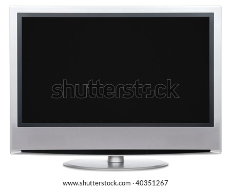 Front view of LCD with blank black screen. Isolated on white background.