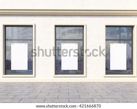Front view of light concrete shop exterior with blank posters on windows. Mock up, 3D Rendering - stock photo