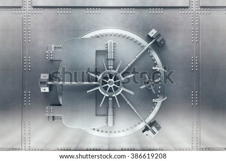 Front  view of light silver bank vault door, closed. 3D Render - stock photo