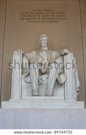 Front view of Lincoln Memorial in Washington DC, USA