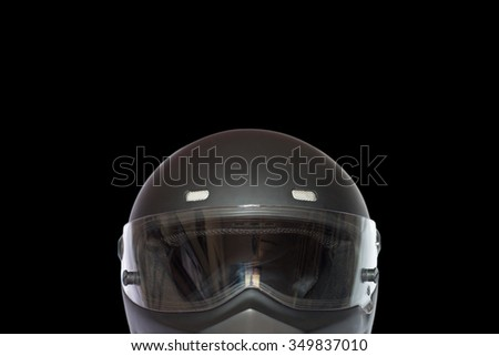 front view of matte black full face helmet and space for text