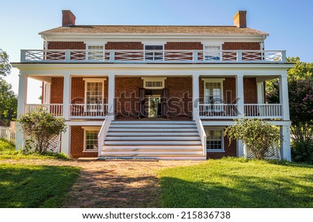Front view of McLean House where the surrender of Southern Army under General Robert E Lee to Ulysses S Grant took place in Appomattox, Virginia, USA - stock photo